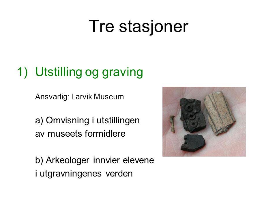Tre stasjoner Utstilling og graving av museets formidlere