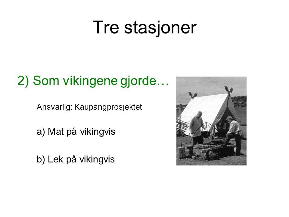 Tre stasjoner 2) Som vikingene gjorde… a) Mat på vikingvis