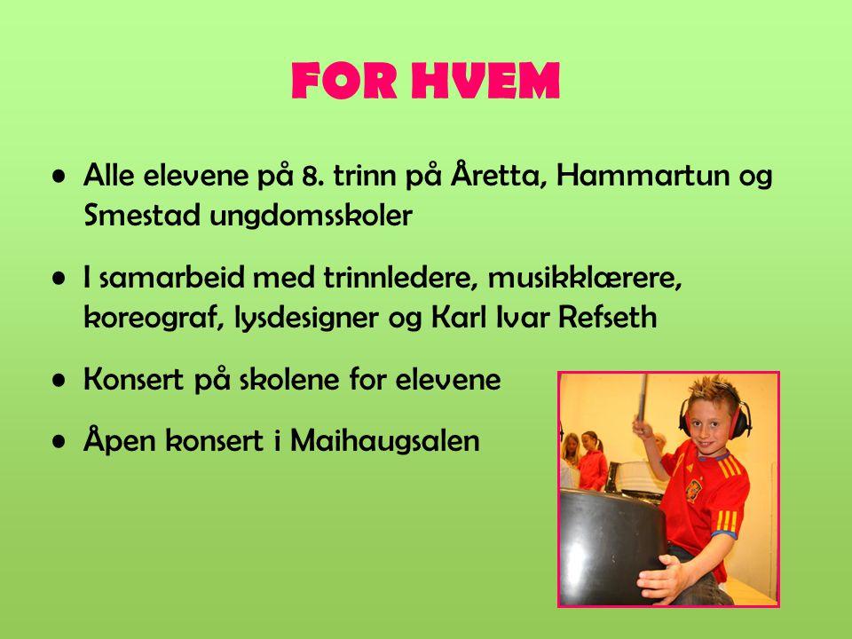 FOR HVEM Alle elevene på 8. trinn på Åretta, Hammartun og Smestad ungdomsskoler.