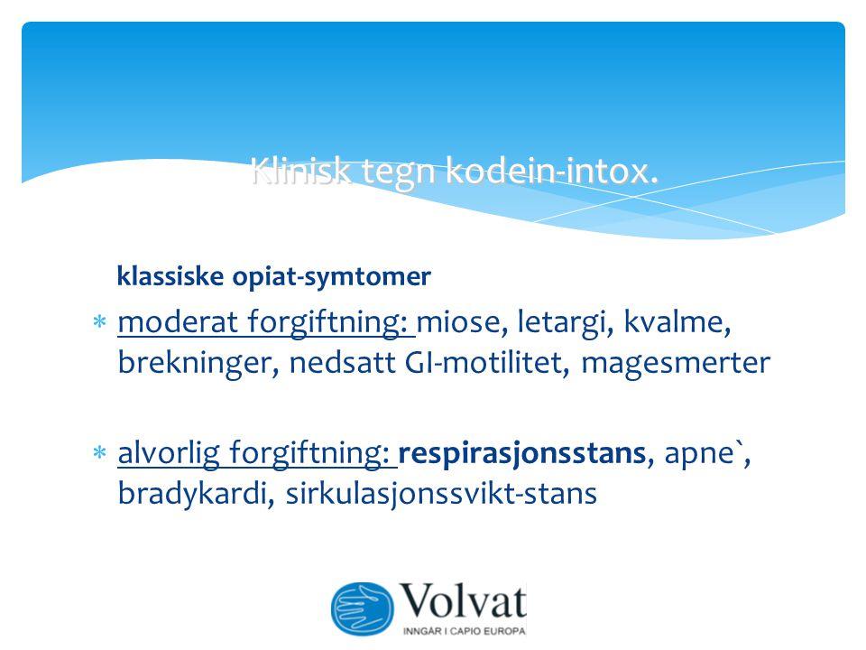Klinisk tegn kodein-intox.