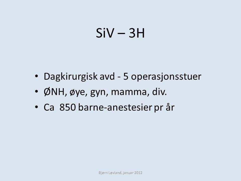 SiV – 3H Dagkirurgisk avd - 5 operasjonsstuer