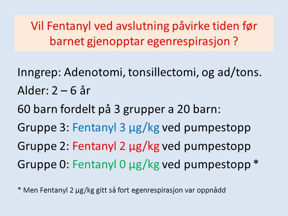 Inngrep: Adenotomi, tonsillectomi, og ad/tons. Alder: 2 – 6 år