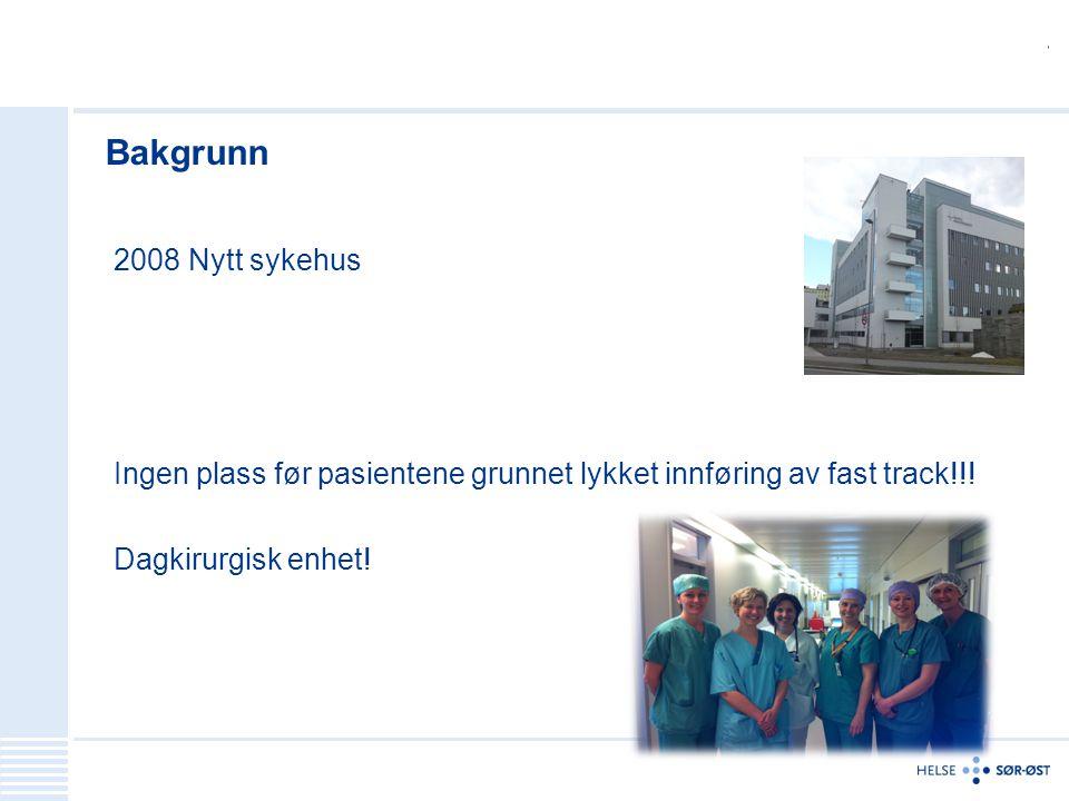Bakgrunn 2008 Nytt sykehus Ingen plass før pasientene grunnet lykket innføring av fast track!!.