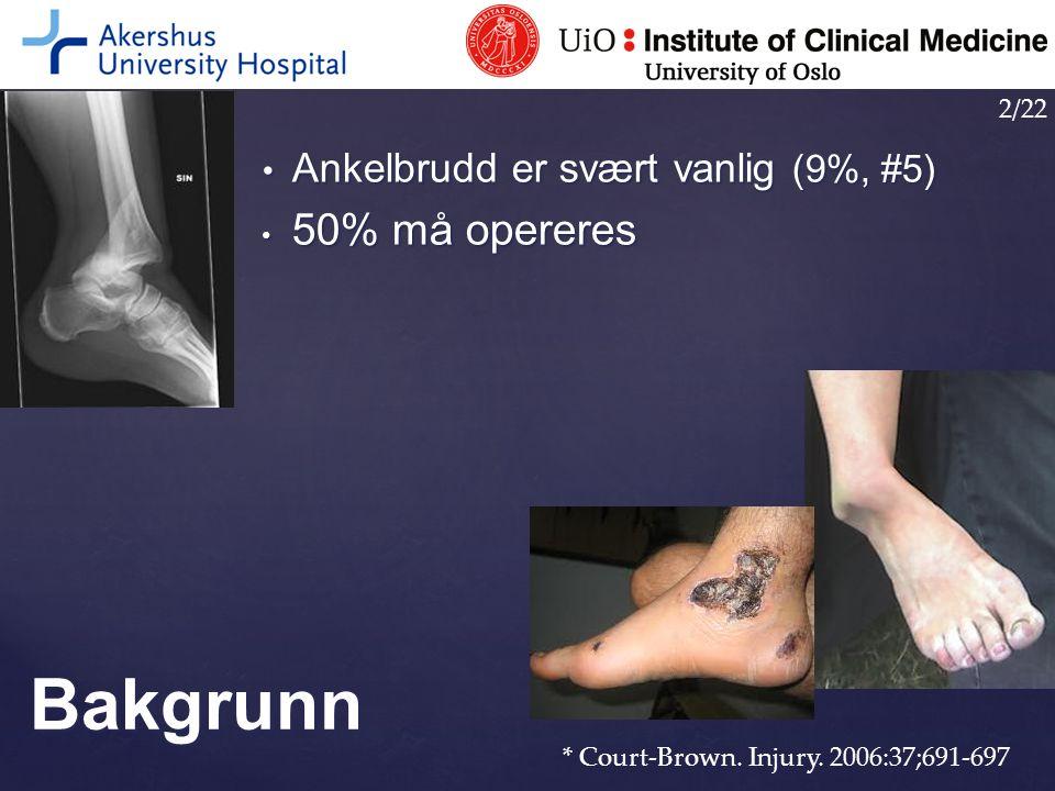 Bakgrunn 50% må opereres Ankelbrudd er svært vanlig (9%, #5) 2/22