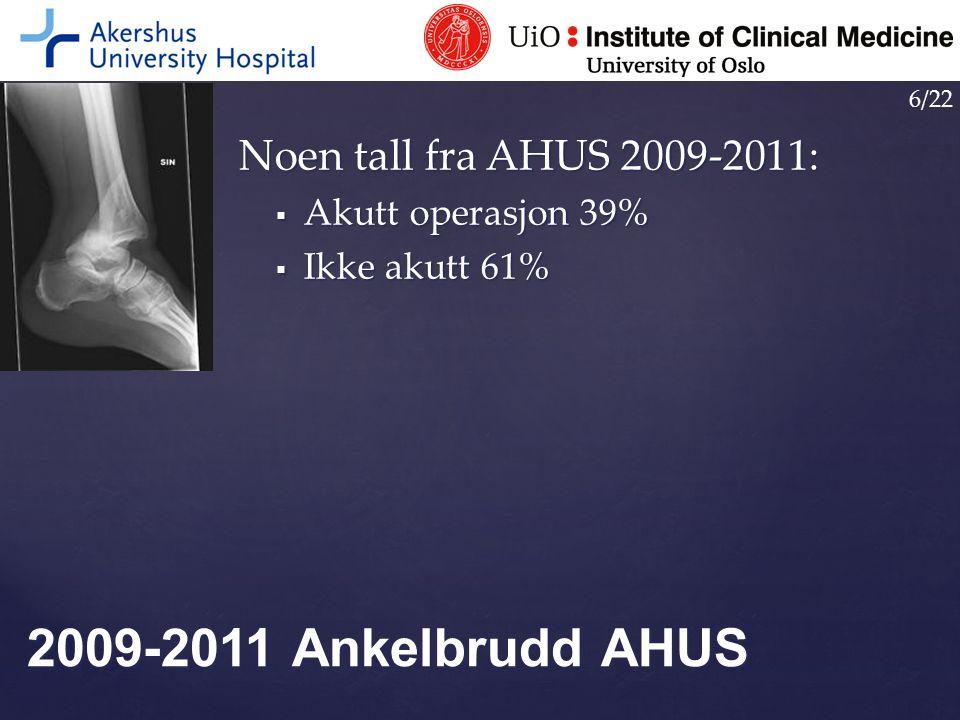 2009-2011 Ankelbrudd AHUS Noen tall fra AHUS 2009-2011:
