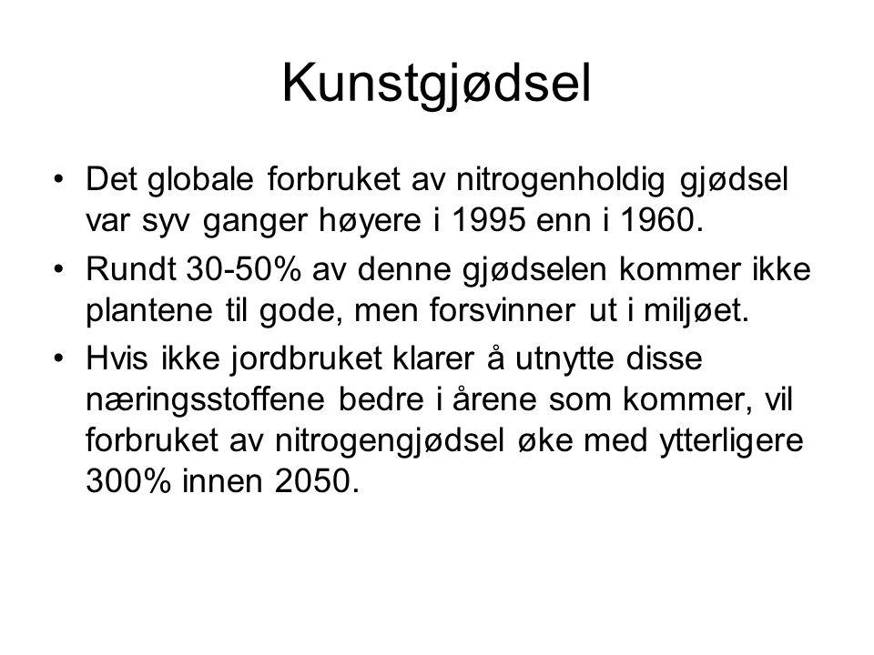 Kunstgjødsel Det globale forbruket av nitrogenholdig gjødsel var syv ganger høyere i 1995 enn i 1960.