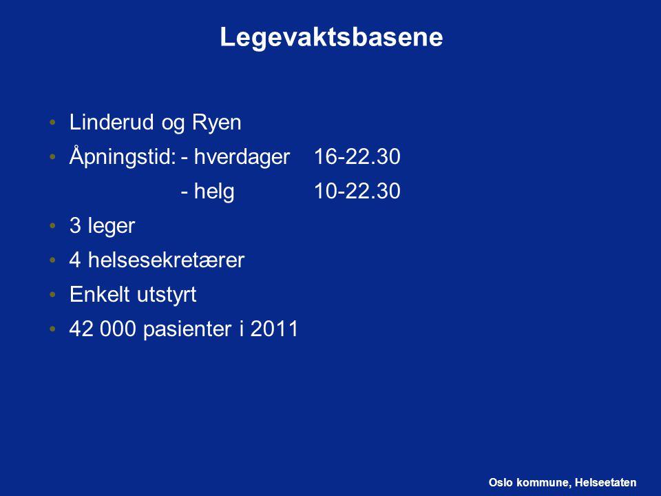 Legevaktsbasene Linderud og Ryen Åpningstid: - hverdager 16-22.30