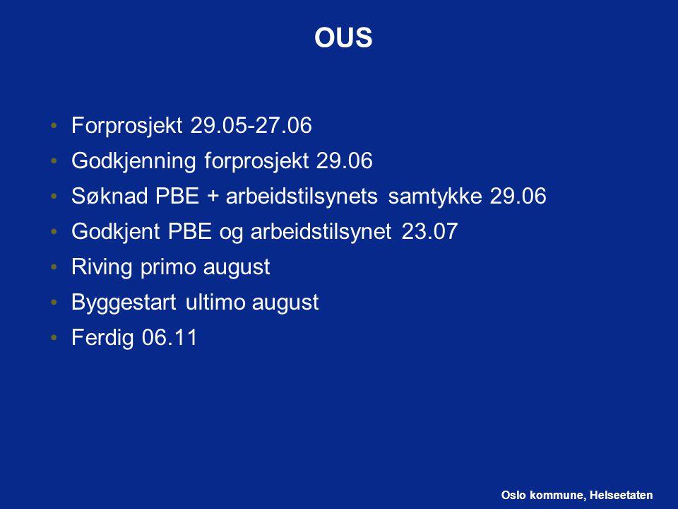 OUS Forprosjekt 29.05-27.06 Godkjenning forprosjekt 29.06