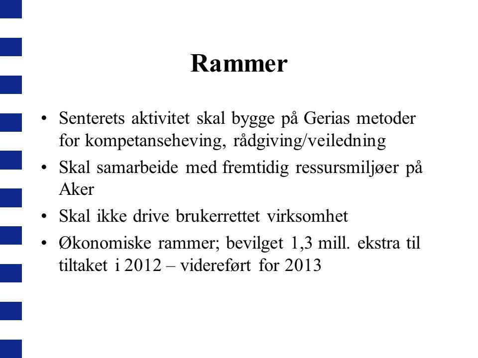 Rammer Senterets aktivitet skal bygge på Gerias metoder for kompetanseheving, rådgiving/veiledning.
