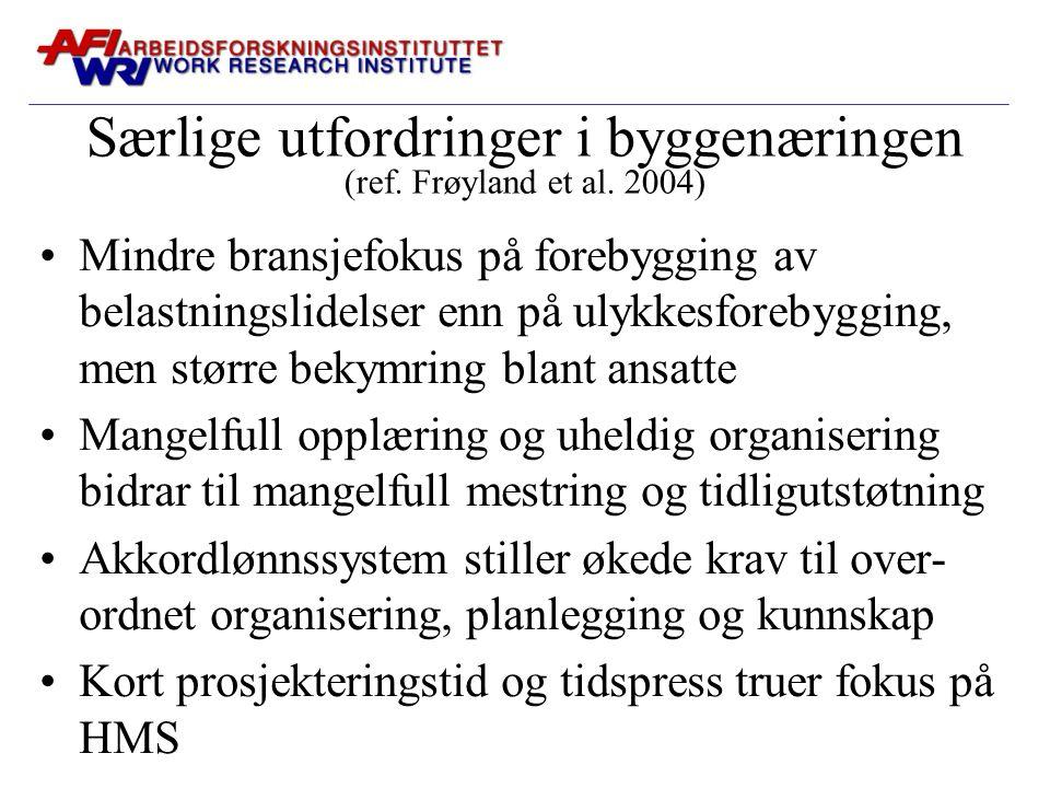 Særlige utfordringer i byggenæringen (ref. Frøyland et al. 2004)