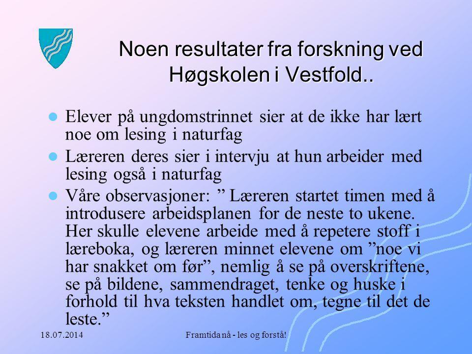 Noen resultater fra forskning ved Høgskolen i Vestfold..