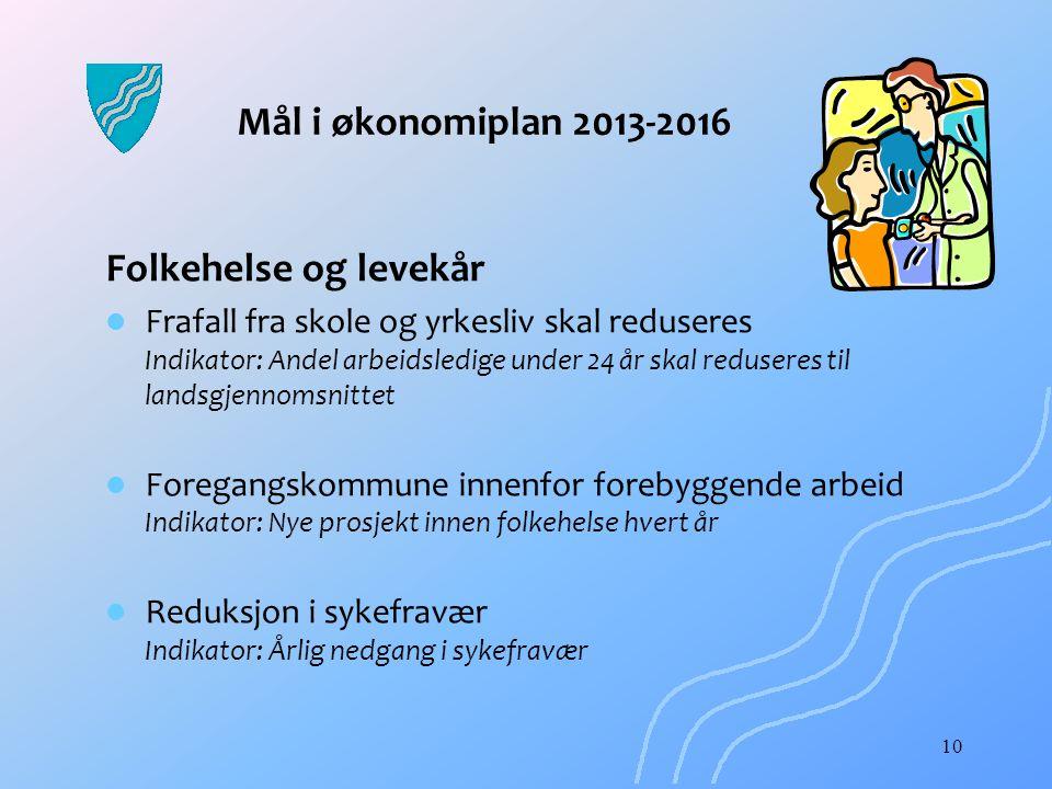 Mål i økonomiplan 2013-2016 Folkehelse og levekår