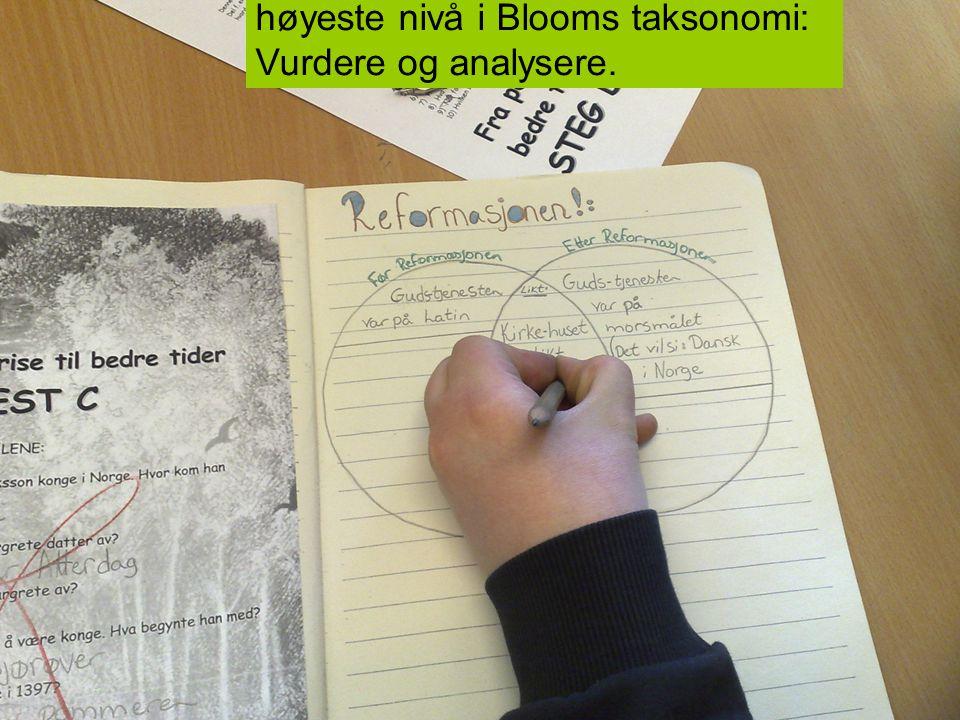 Venn-diagram hjelper elevene til høyeste nivå i Blooms taksonomi: Vurdere og analysere.
