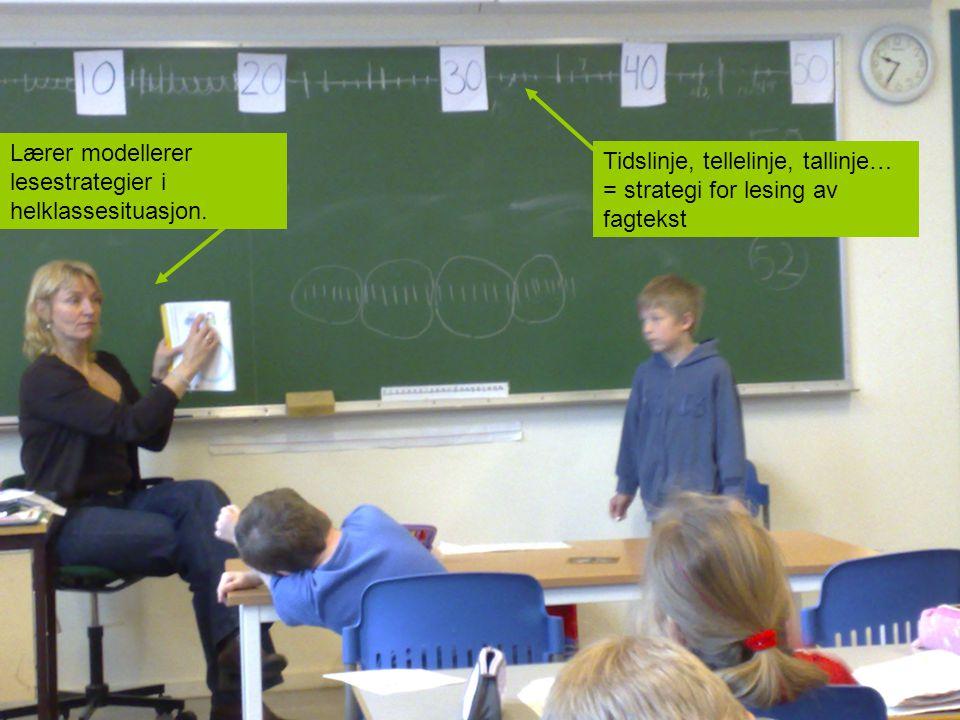 Lærer modellerer lesestrategier i helklassesituasjon.