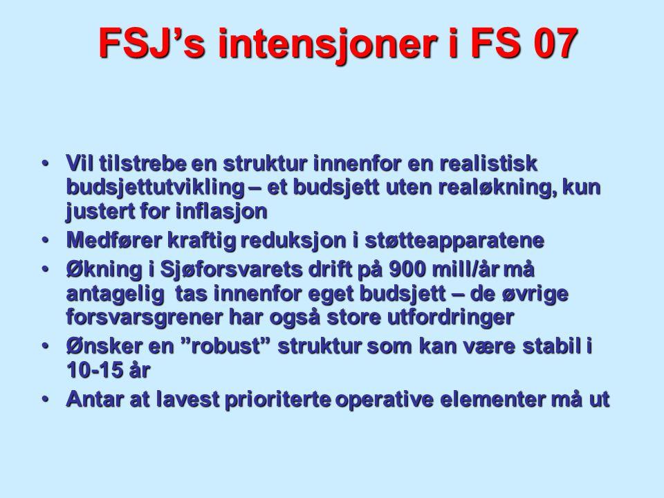 FSJ's intensjoner i FS 07 Vil tilstrebe en struktur innenfor en realistisk budsjettutvikling – et budsjett uten realøkning, kun justert for inflasjon.