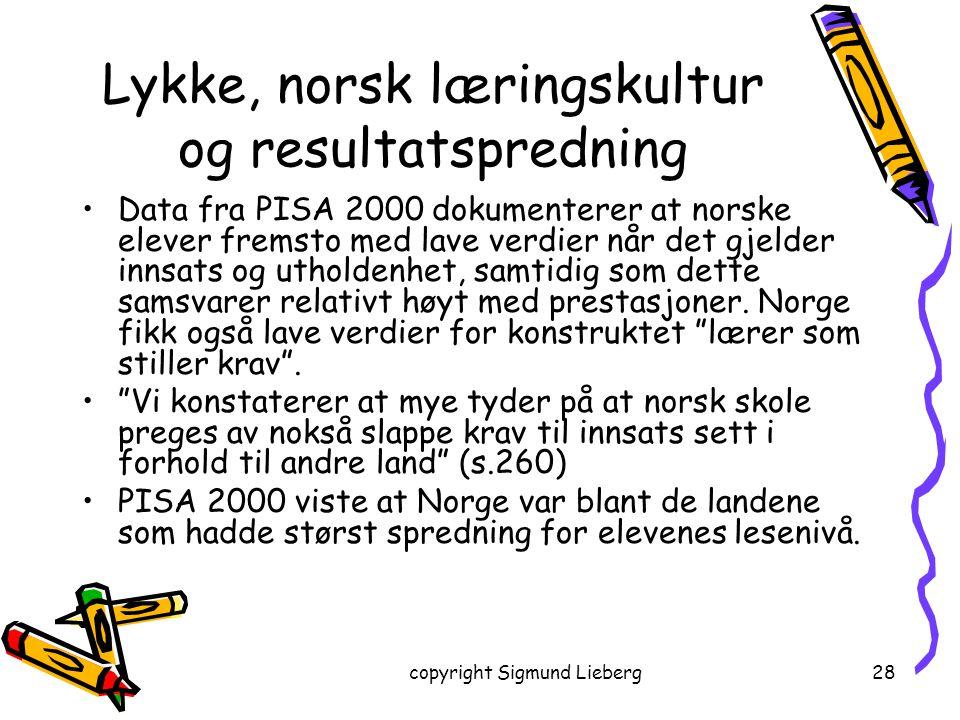Lykke, norsk læringskultur og resultatspredning