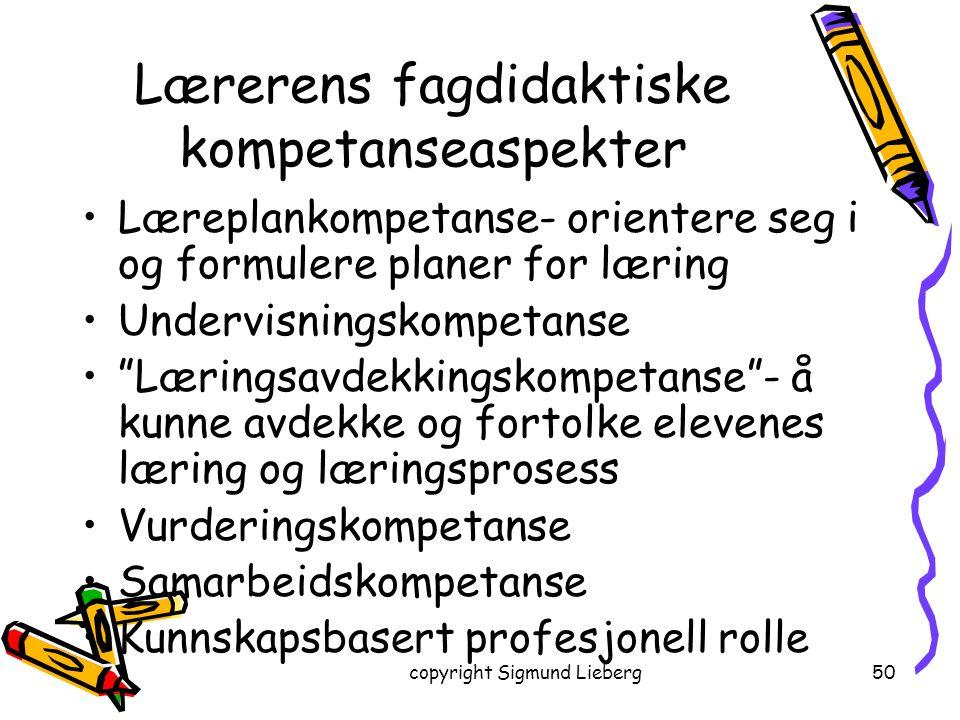 Lærerens fagdidaktiske kompetanseaspekter