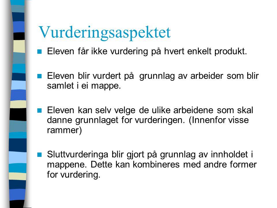 Vurderingsaspektet Eleven får ikke vurdering på hvert enkelt produkt.