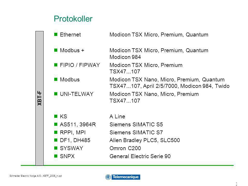 Protokoller Ethernet Modicon TSX Micro, Premium, Quantum
