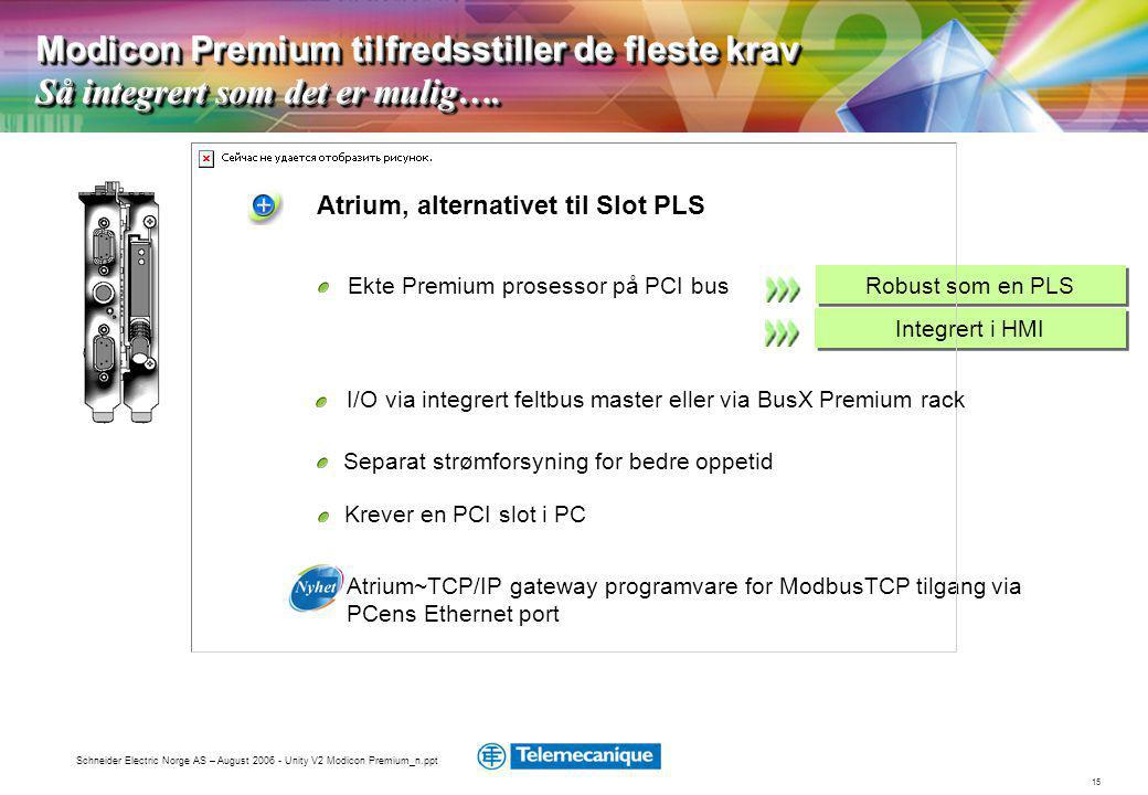 Modicon Premium tilfredsstiller de fleste krav Så integrert som det er mulig….