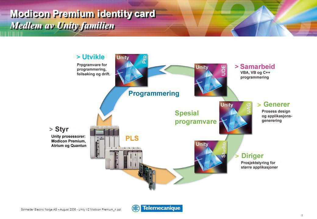 Modicon Premium identity card Medlem av Unity familien