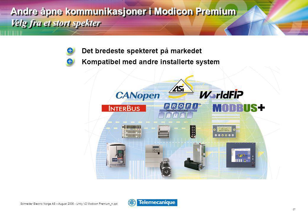 Andre åpne kommunikasjoner i Modicon Premium Velg fra et stort spekter