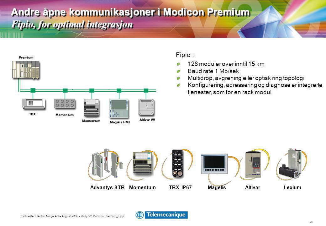 Andre åpne kommunikasjoner i Modicon Premium Fipio, for optimal integrasjon