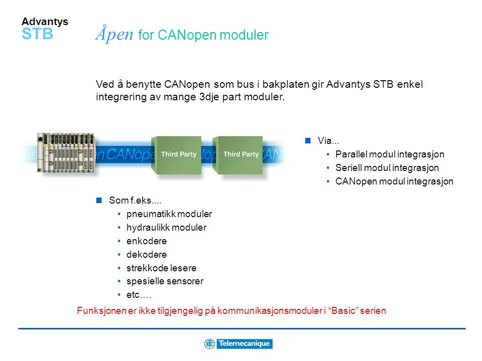 Åpen for CANopen moduler
