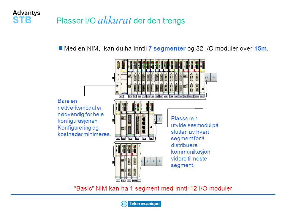 Basic NIM kan ha 1 segment med inntil 12 I/O moduler