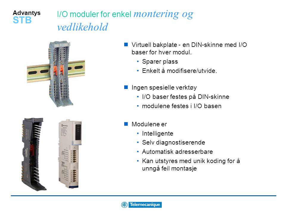 I/O moduler for enkel montering og vedlikehold
