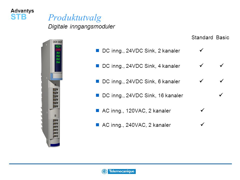 Produktutvalg Digitale inngangsmoduler