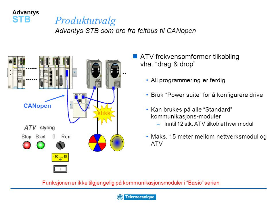 Produktutvalg Advantys STB som bro fra feltbus til CANopen