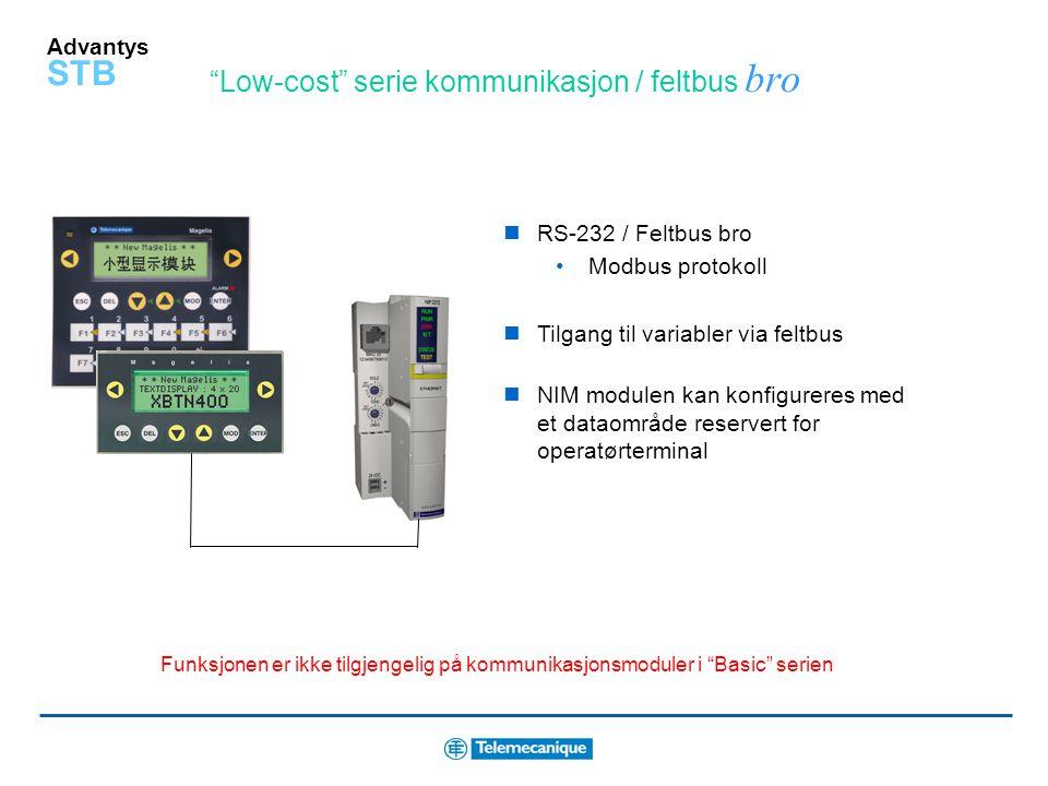 Low-cost serie kommunikasjon / feltbus bro