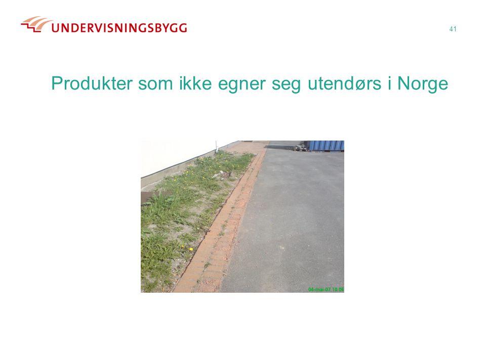 Produkter som ikke egner seg utendørs i Norge