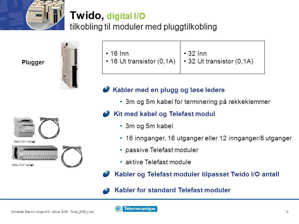 Twido, digital I/O tilkobling til moduler med pluggtilkobling