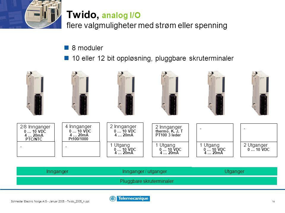 Twido, analog I/O flere valgmuligheter med strøm eller spenning