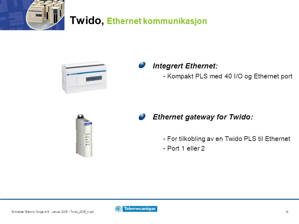 Twido, Ethernet kommunikasjon
