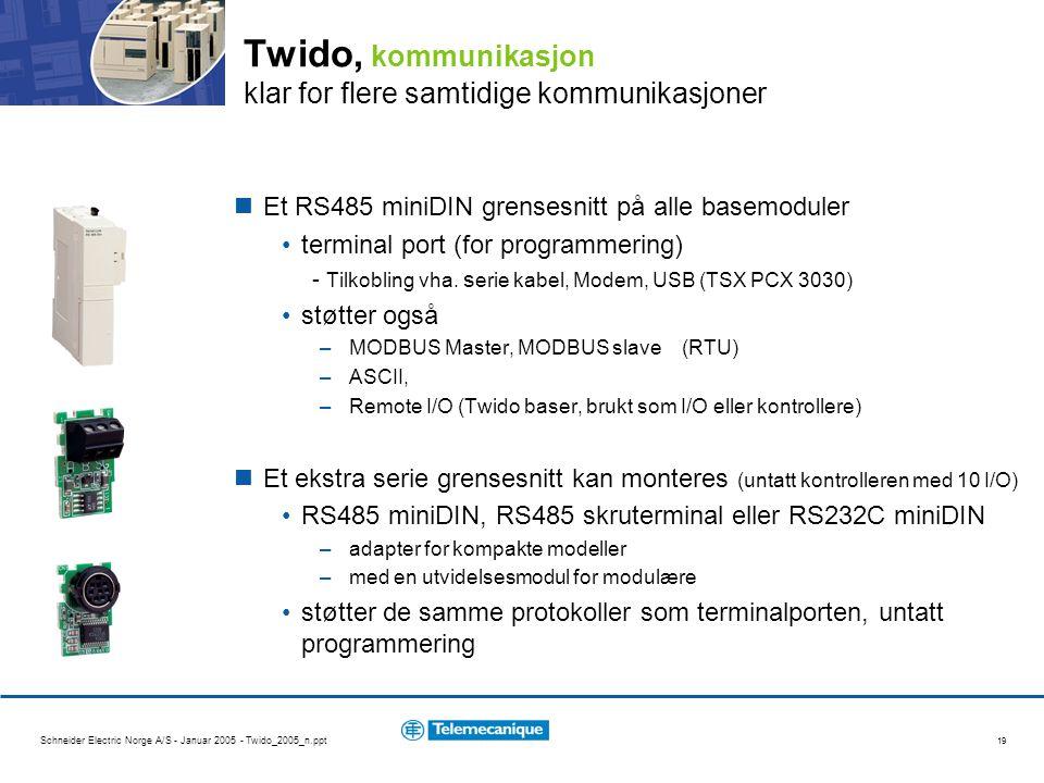 Twido, kommunikasjon klar for flere samtidige kommunikasjoner