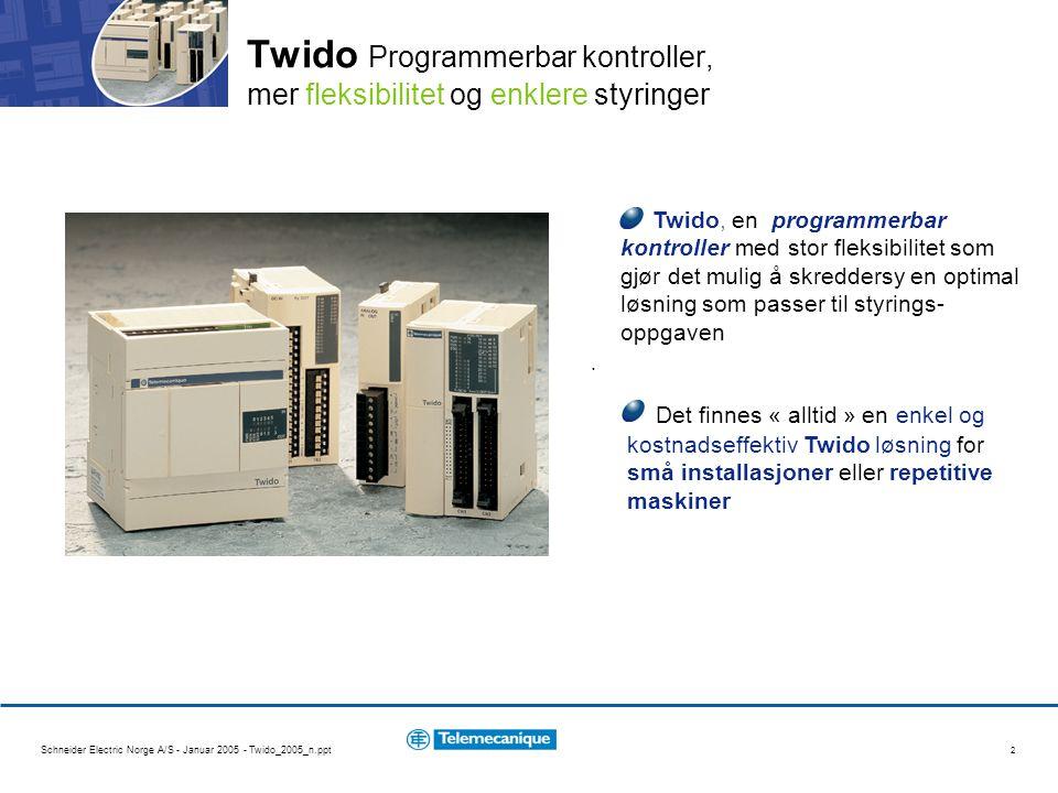 Twido Programmerbar kontroller, mer fleksibilitet og enklere styringer