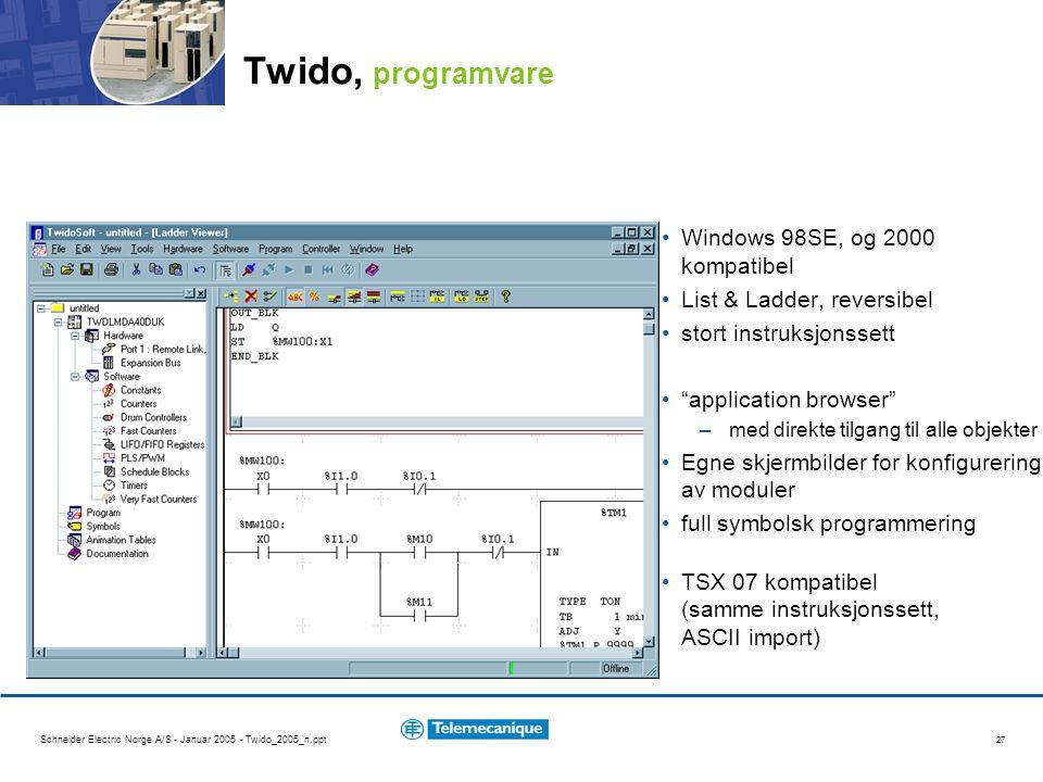 Twido, programvare Windows 98SE, og 2000 kompatibel