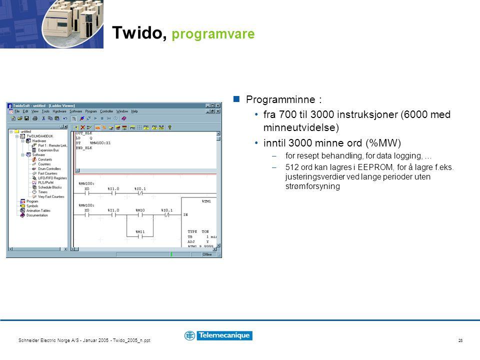 Twido, programvare Programminne :
