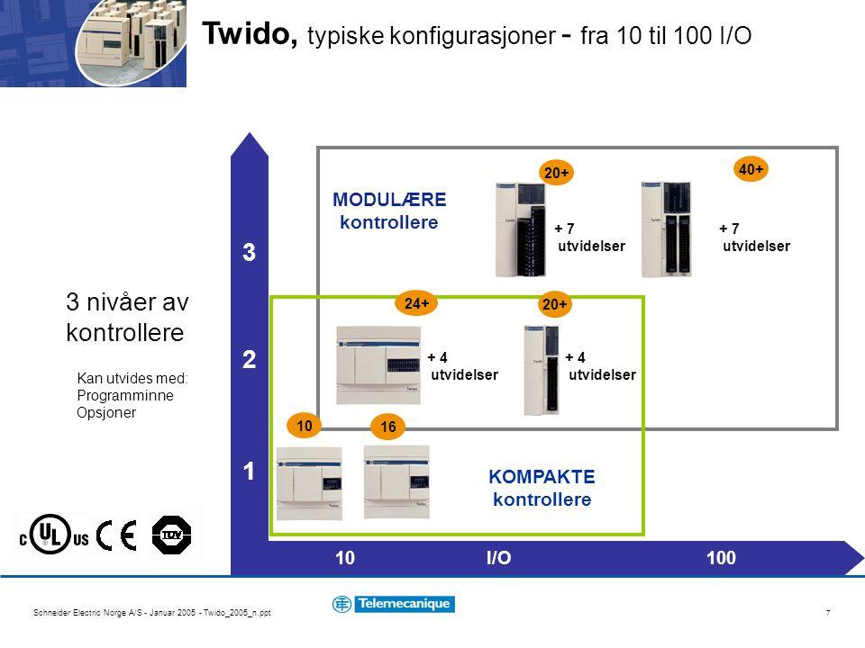Twido, typiske konfigurasjoner - fra 10 til 100 I/O