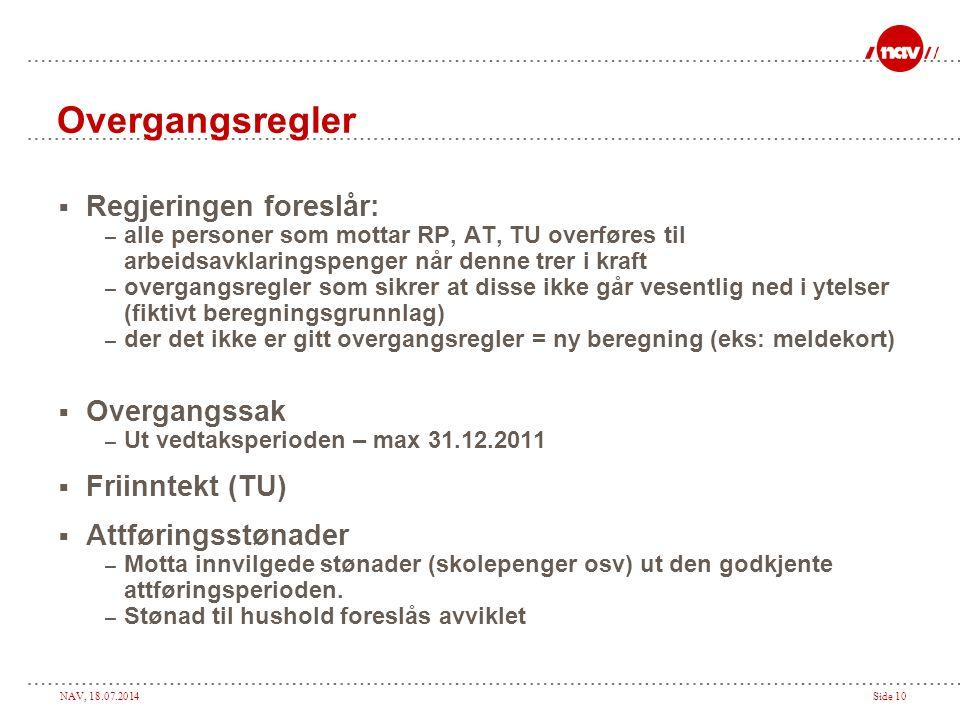Overgangsregler Regjeringen foreslår: Overgangssak Friinntekt (TU)