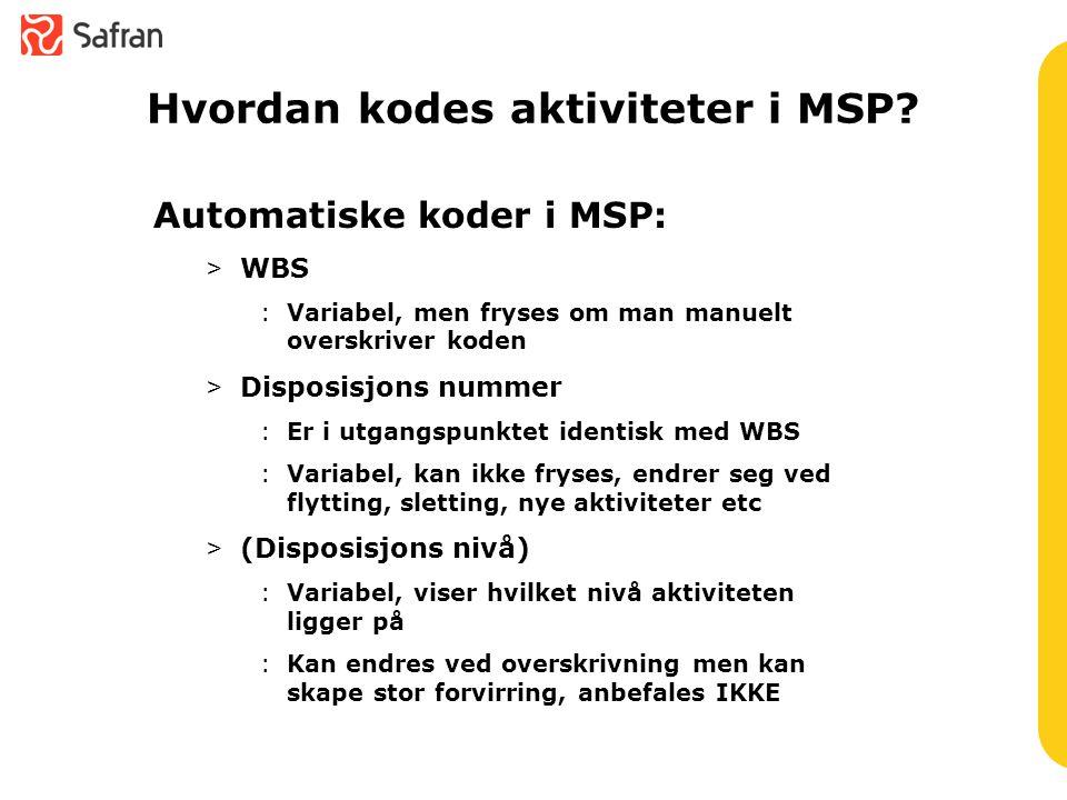Hvordan kodes aktiviteter i MSP