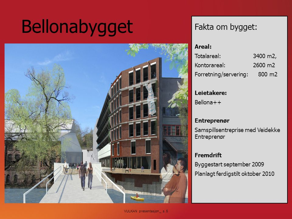 Bellonabygget Fakta om bygget: Areal: Totalareal: 3400 m2,