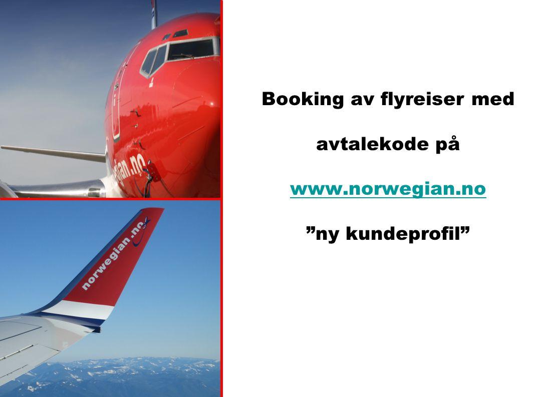 Booking av flyreiser med avtalekode på www. norwegian