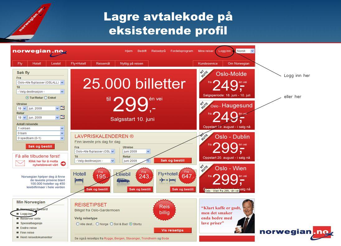Lagre avtalekode på eksisterende profil