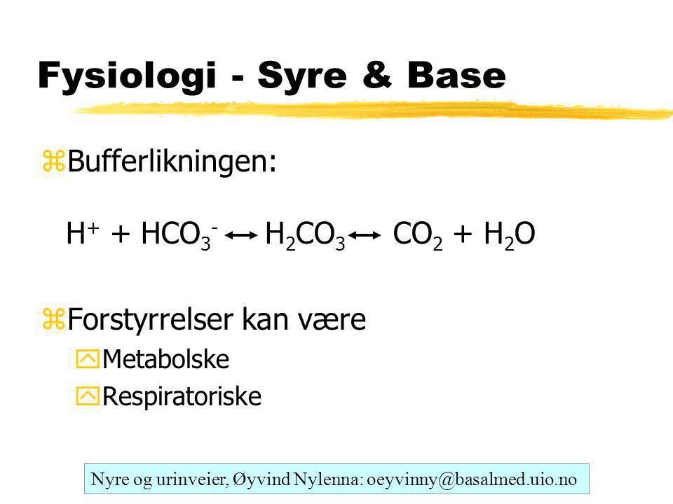 Fysiologi - Syre & Base Bufferlikningen: H+ + HCO3- H2CO3 CO2 + H2O