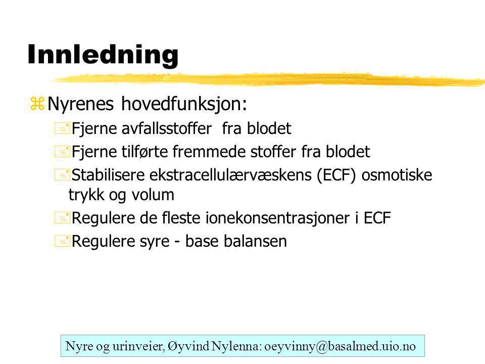 Innledning Nyrenes hovedfunksjon: Fjerne avfallsstoffer fra blodet