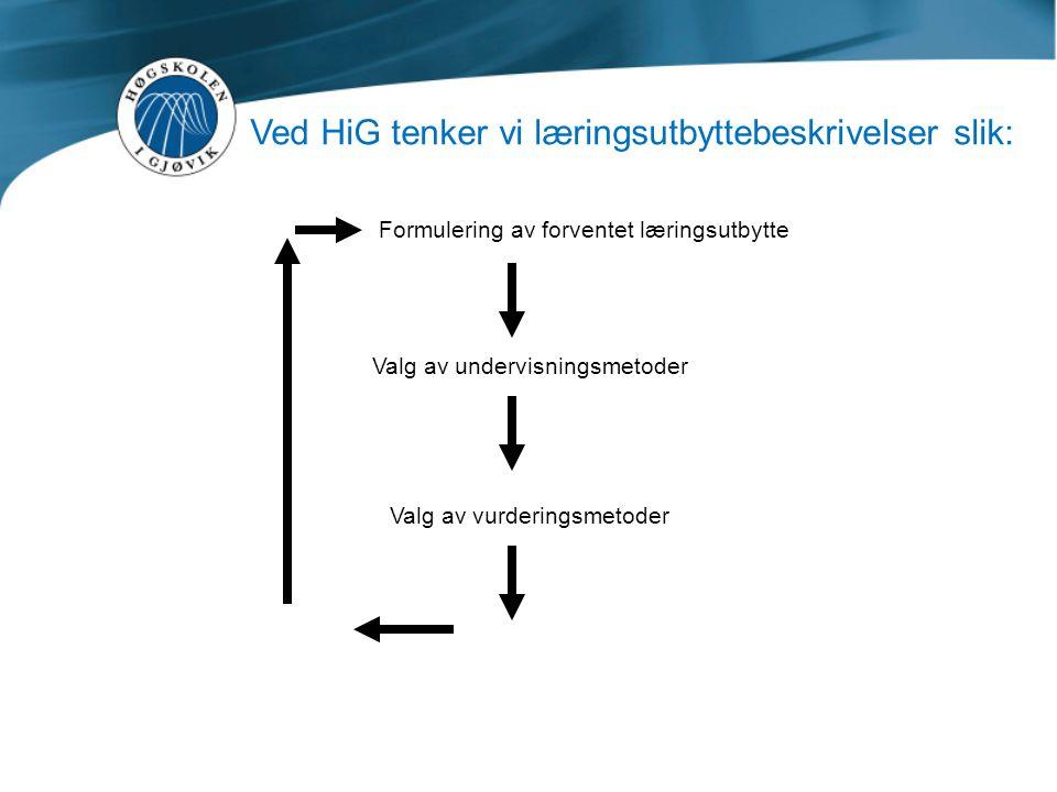 Ved HiG tenker vi læringsutbyttebeskrivelser slik: